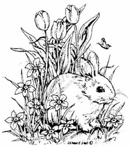 M3332 Bunny With Tulips
