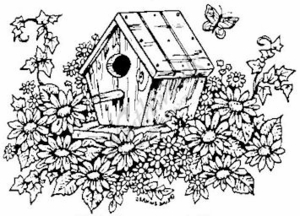 M3363 Birdhouse and Flowers