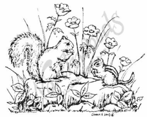 M3612 Squirrel and Chipmunk With Flowers