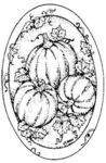 M3741 Pumpkin and Leaves Oval