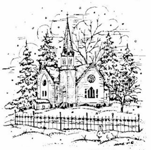M3938 Church, Fence and Pines