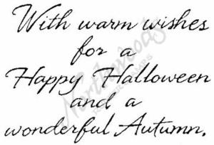 Cursive With Warm Wishes For A Happy Halloween M4480