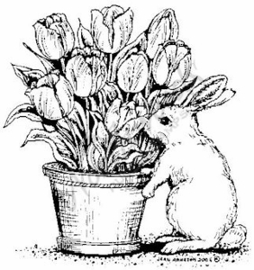 M4563 Bunny With Tulip Pot - Large