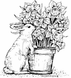 M4564 Bunny With Daffodil Pot - Large