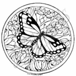 M4597 Circle Monarch and Flowers - Small