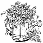 Floral Watering Can-Medium M466