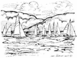 Sailboats On Lake M4983