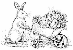 Bunny In Wheelbarrow M5048