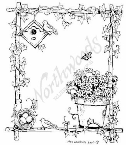 Birdhouse and Ivy Frame M5084