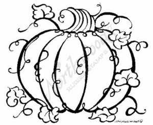 M6217 Large Sketch Pumpkin With Leaves