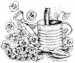 M6641 Watering Can With Pansies