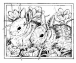 M6984 Bunnies and Crocus In Rectangle