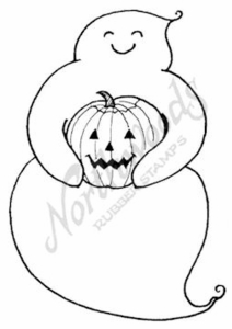 M7024 Happy Ghost With Pumpkin