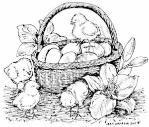 M7269 Easter Basket With Chicks and Lilies