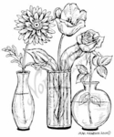 M7353 Three Glass Vases With Flowers