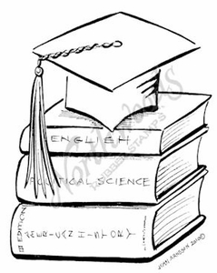 M7461 Stacking Books and Graduation Cap