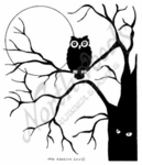 M7520 Solid Owl On Oak Tree And Full Moon