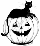 M7534 Black Cat On Jack O' Lantern