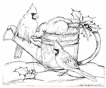 M7674 Snowy Watering Can And Cardinals