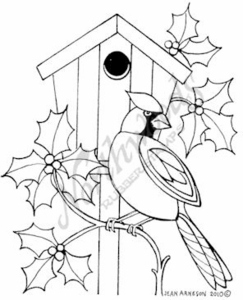 M7699 Cardinal With Holly Birdhouse