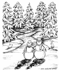 M7747 Snowman Couple And Forest