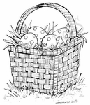 M7941 Square Easter Basket With Dotted Eggs
