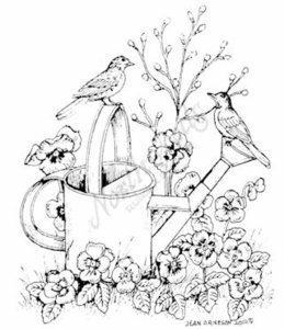 M8033 Robins On Watering Can