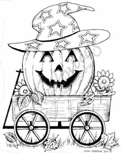 M8104 Jack O' Lantern With Hat In Wagon