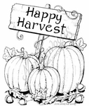 M8165 Happy Harvest Sign With Three Pumpkins