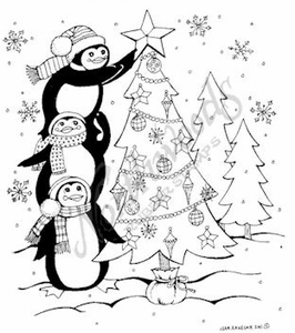 M8239 Penguins Decorating Tree