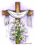 M8466 Resurrection Cross With Lilies