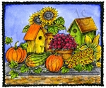 M8682 Fall Birdhouse And Pumpkin Deckle Rectangle