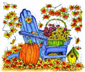 M8694 Fall Adirondack Chair With Leaves