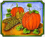 M8701 Pumpkin And Indian Corn In Deckle Rectangle