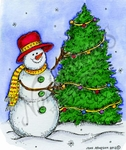 M8774 Snowman And Christmas Tree With Lights
