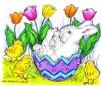M9005 Bunny In Egg With Chicks And Tulips