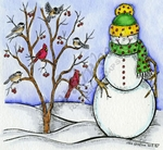 M9302 Snowman, Tree And Birds
