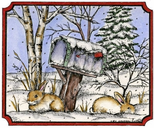 M9355 Bunnies And Mailbox In Notched Rectangle
