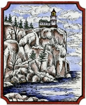 M9363 Lighthouse On Cliff In Notched Rectangle