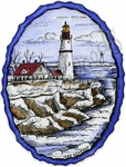 M9637 Lighthouse In Deckled Oval