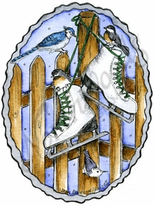 M9861 Ice Skates, Winter Birds And Fence In Deckled Oval