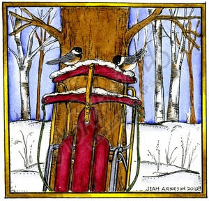 MM10148 Chickadee Sled In Square Frame