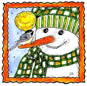 MM10363 Snowman Face With Chickadee In Double Deckle Frame