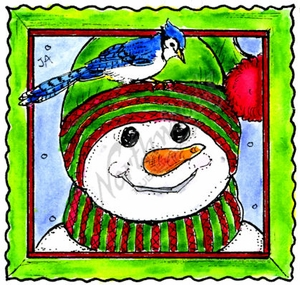 MM10374 Snowman Face And Blue Jay In Deckle Frame