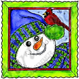 MM10378 Snowman Face And Cardinal In Deckle Frame