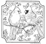 Two Cardinals In Notched Square MM8295
