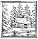 MM8332 Winter Cabin In Square