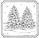 MM8334 Two Snowy Spruce Notched Square