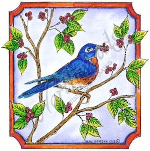 Bluebird In Notched Square With Berries MM8424