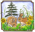 MM8549 Two Spring Bunnies In Notched Square